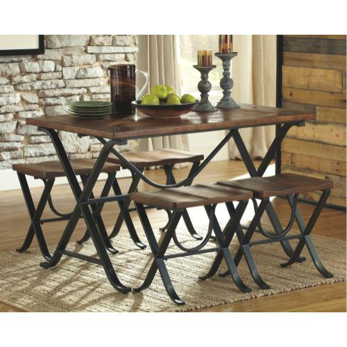 D311 5PC SET: Dining Room Table and Stools (Freimore)