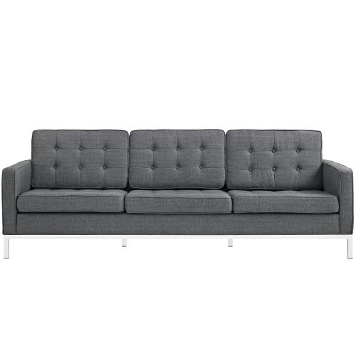Loft 2 Piece Upholstered Fabric Sofa and Loveseat Set in Gray