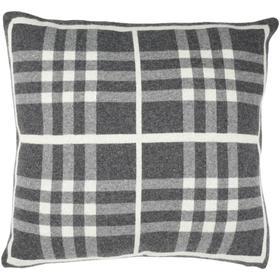 Unity Gingham Knit Pillow - Dark Grey / Medium Grey / Ivory
