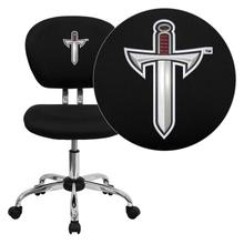 Troy University Trojans Embroidered Black Mesh Task Chair with Chrome Base
