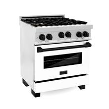 """See Details - ZLINE Autograph Edition 30"""" 4.0 cu. ft. Range with Gas Stove and Gas Oven in DuraSnow® Stainless Steel with White Matte Door and Accents (RGSZ-WM-30) [Color: Matte Black]"""