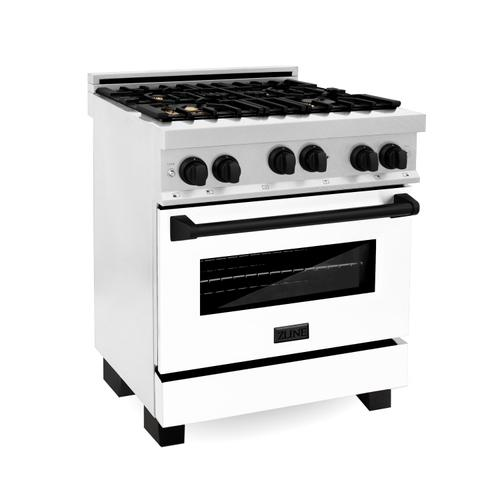 """Zline Kitchen and Bath - ZLINE Autograph Edition 30"""" 4.0 cu. ft. Range with Gas Stove and Gas Oven in DuraSnow® Stainless Steel with White Matte Door and Accents (RGSZ-WM-30) [Color: Gold]"""