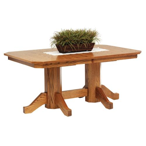 CVW Mission Double Pedestal Table with 2-Leaves