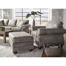 See Details - Leinster Faux Leather Upholstered Nailhead Chair and Ottoman in Stone Gray