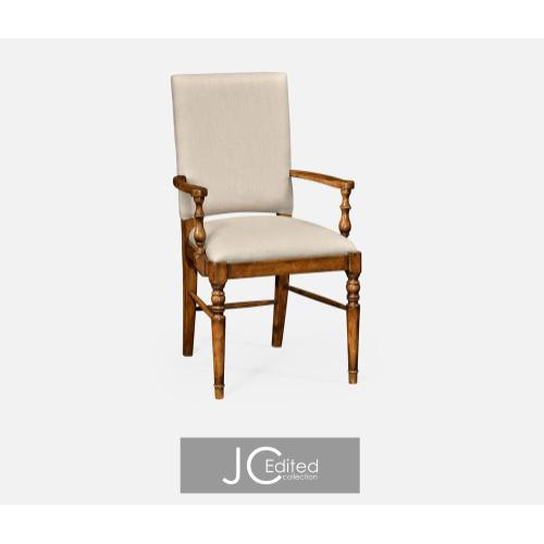 Country walnut upholstered armchair