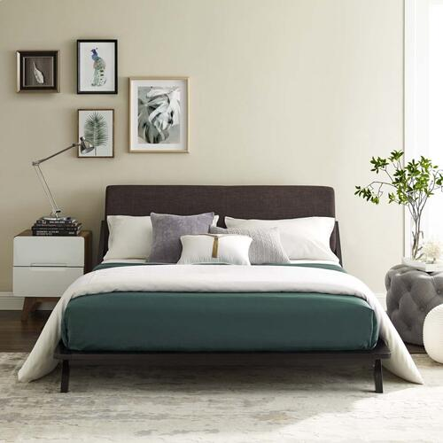 Modway - Luella Queen Upholstered Fabric Platform Bed in Cappuccino Brown