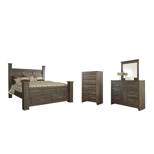 King Poster Bed With 2 Storage Drawers With Mirrored Dresser and Chest