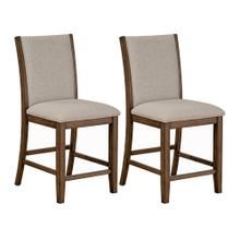 Zayden Brown 2-Pack Counter Height Upholstered Barstools, Brown