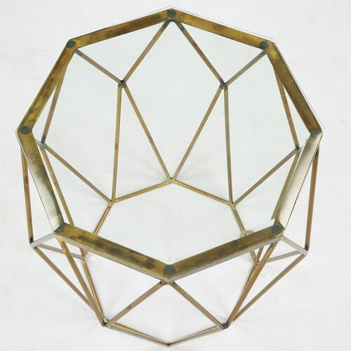 Octagon Side Table - Polished Brass Finish