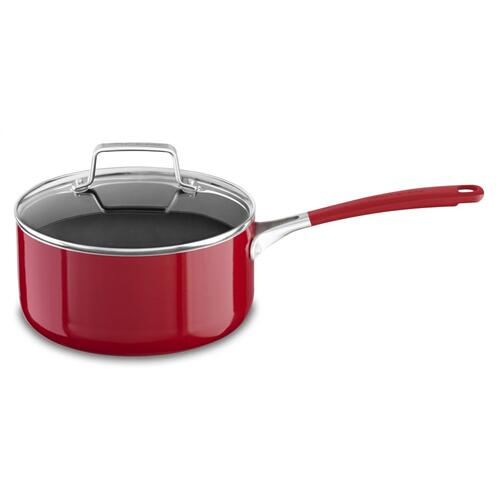 Aluminum Nonstick 3.0 quart Saucepan with Lid - Empire Red