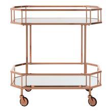 See Details - Silva 2 Tier Octagon Bar Cart - Rose Gold / Mirror