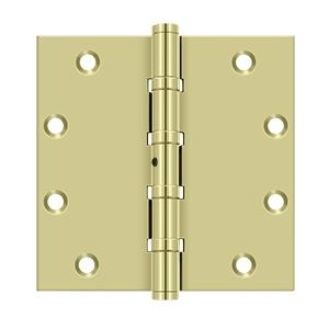 """5"""" x 5"""" Square Hinges, Ball Bearings - Unlacquered Brass"""