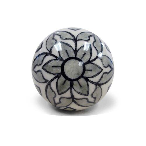Epicureanist Black and White Floral Ceramic Bottle Stopper