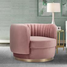 See Details - Davy Blush Velvet Swivel Accent Chair