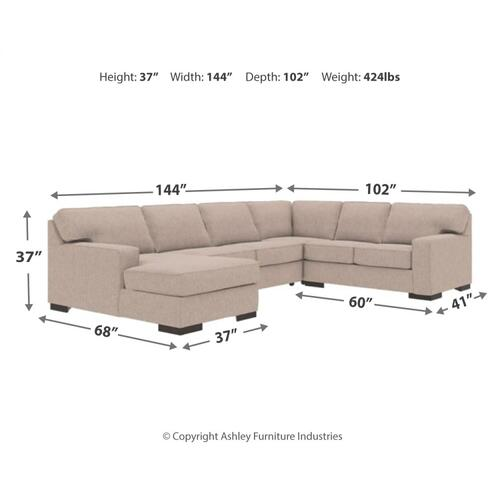 Ashlor Nuvella® 4-piece Sleeper Sectional With Chaise
