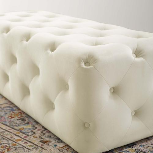 """Amour 48"""" Tufted Button Entryway Performance Velvet Bench in Ivory"""