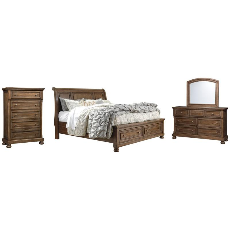 View Product - California King Sleigh Bed With 2 Storage Drawers With Mirrored Dresser and Chest