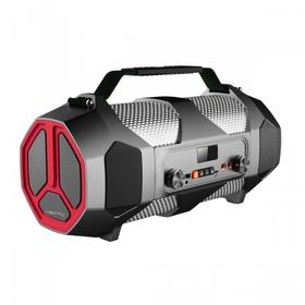 Portable Indoor/Outdoor Bluetooth® Media Speaker with Built-In RGB Light Effects Rechargeable Battery and Microphone/Guitar Inputs Black-Red