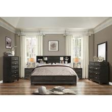 Loiret Antique Grey Finish Wood Bed Room Set, Queen & King Storage Bed, Dresser, Mirror, 2 Night Stands, Chest, King