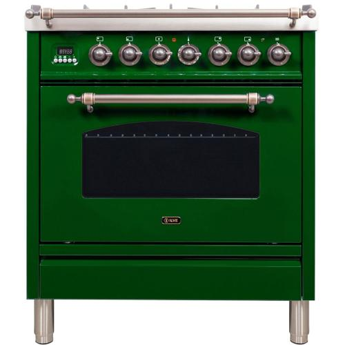 Nostalgie 30 Inch Dual Fuel Liquid Propane Freestanding Range in Emerald Green with Bronze Trim