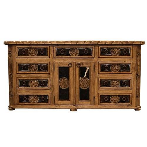 "84"" Large Cowhide Dresser"