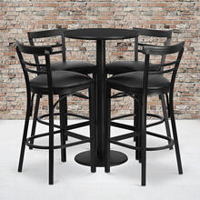 24'' Round Black Laminate Table Set with Round Base and 4 Two-Slat Ladder Back Metal Barstools - Black Vinyl Seat