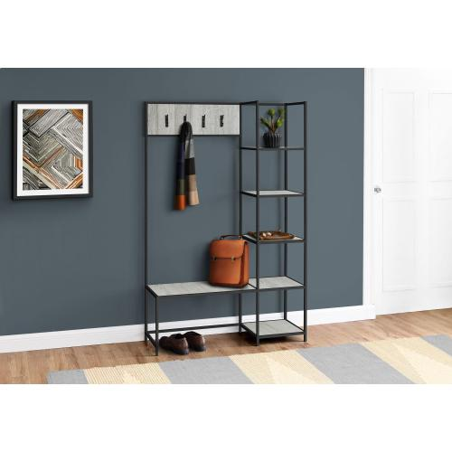 "BENCH - 72""H / GREY / BLACK METAL HALL ENTRY"