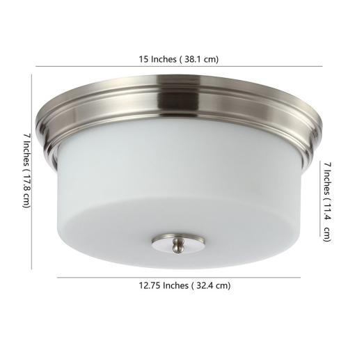 Dalen Flush Mount - Brush Nickel / White