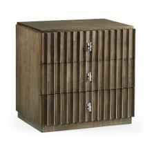 Gatsby Dark Grey Walnut & Stainless Steel Reeded Nightstand