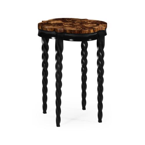 Black Barleytwist Quatrefoil Side Table