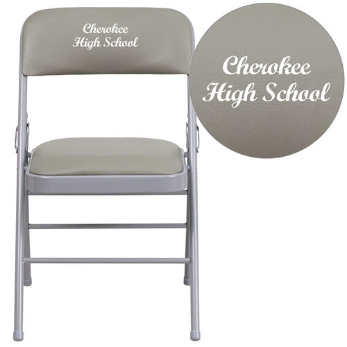 Embroidered HERCULES Series Triple Braced Gray Vinyl Upholstered Metal Folding Chair
