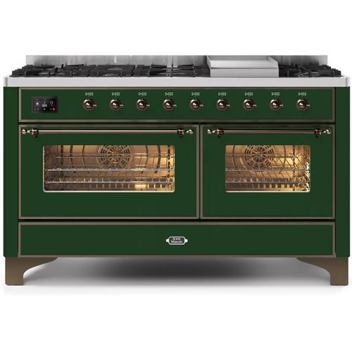 Gallery - Majestic II 60 Inch Dual Fuel Natural Gas Freestanding Range in Emerald Green with Bronze Trim
