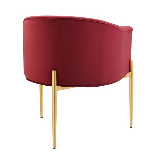 Savour Tufted Performance Velvet Accent Chair in Maroon