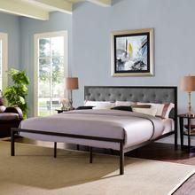 Mia King Fabric Bed in Brown Gray