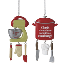 Chef's Pot and Baker's Mixer w/Text Ornaments (2 asstd)