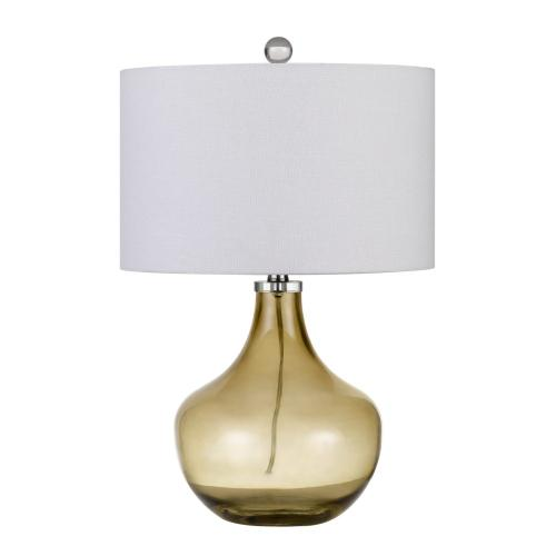 150W Logan Glass Table Lamp With Drum Hardback Fabric Shade