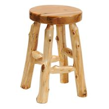 "Round Barstool - 30"" high - Natural Cedar - Wood Seat - Liquid Glass"