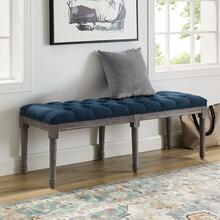 See Details - Province French Vintage Upholstered Fabric Bench in Navy