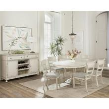 Bella Grigio - Stencil Top Round Dining Table Top - Chipped White Finish