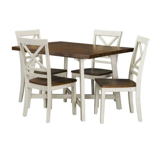 Standard Furniture - Amelia Dining Table and Four Chairs Set, Light Brown Top with Distressed White Base