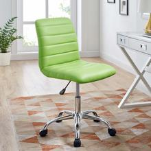 See Details - Ripple Armless Mid Back Vinyl Office Chair in Bright Green