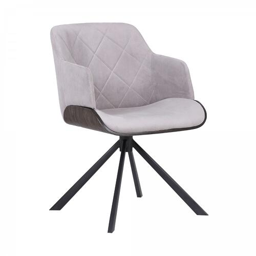 Armen Living - Puma Mid-Century Dining Chair in Black Powder Coated Finish with Grey Velvet and Walnut Glazed Finish