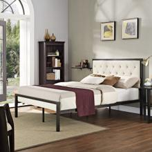 Mia Full Fabric Bed in Brown Beige