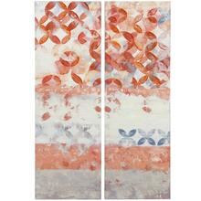 PATTERN PLAY  HAND EMBELLISHED  36in X 12in  Set Of Two Geometric Pattern Abstract Canvases