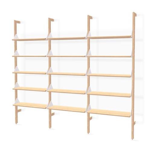 Product Image - Branch-3 Shelving Unit Blonde Uprights White Brackets Blonde Shelves