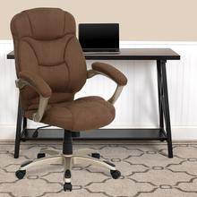 View Product - High Back Brown Microfiber Contemporary Executive Swivel Ergonomic Office Chair with Arms