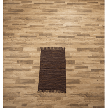 See Details - Dark Brown Leather Chindi 2x3 Rug (Each One Will Vary)
