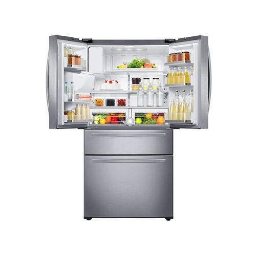 25 cu. ft. Large Capacity 4-Door French Door Refrigerator with External Water & Ice Dispenser in Stainless Steel