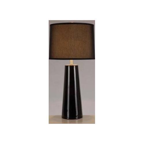 Ceramic Table Lamp, Black/black Fabric Shade, E27 Cfl 23w