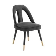 Petra Dark Grey Velvet Side Chair